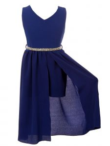 Just Kids Little Girls Royal Blue Stone Belt Flower Girl Jumpsuit Dress 4-6