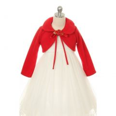 Kids Dream Red Flower Special Occasion Fleece Bolero Jacket Girl 4-12