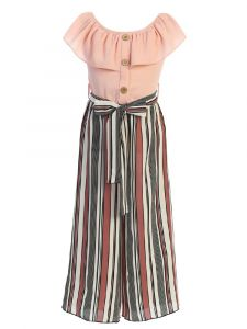 Just Kids Girls Multi Color Ruffled Striped Jumpsuit 4-14