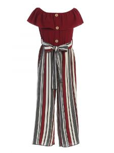 Just Kids Little Girls Burgundy Ruffled Striped Jumpsuit 4-6