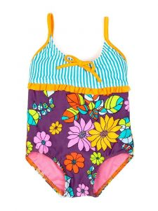 Azul Little Girls Orange Purple Paradise Spagetti Strap 1 Pc Swimsuit 2T-4