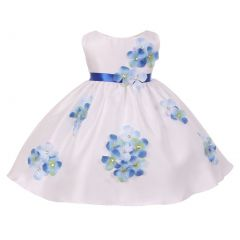 Kids Dream Baby Girls Blue Shantung Flower Petals Special Occasion Dress 6-24M