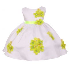 Kids Dream Baby Girls Lime Shantung Flower Petals Special Occasion Dress 6-24M