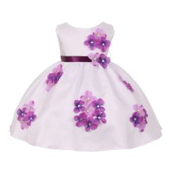 Kids Dream Baby Girls Purple Shantung Flower Petals Special Occasion Dress 6-24M