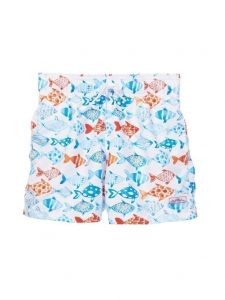 Azul Big Boys White Fish Print Elastic Band Drawstring Swim Shorts 8-14