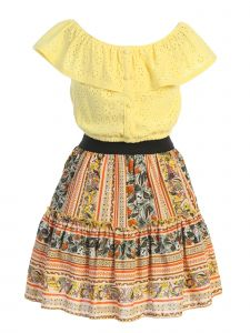 Just Kids Big Girls Yellow Ruffled Embroidery Eyelet Floral 2 Skirt Set 8-14
