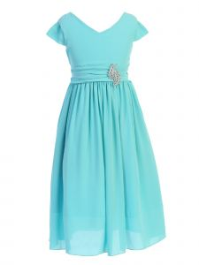 Just Kids Big Girls Aqua Sash Broche Ankle Length Junior Bridesmaid Dress 8-14