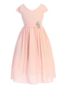 Just Kids Big Girls Blush Sash Broche Ankle Length Junior Bridesmaid Dress 8-14