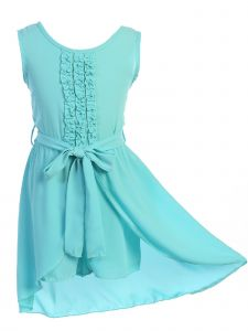 Just Kids Big Girls Aqua Solid Color Ruffled Sash High-Low Jumpsuit Dress 8-14