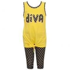 "Big Girls Yellow Dotted ""Diva"" Print Casual 2 Pc Leggings Outfit 7-16"
