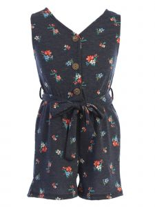 Just Kids Little Girls Navy Front Button Sash Floral Print Jumpsuit 4-6