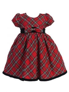 Just Kids Baby Girls Red Plaid Cap Sleeve Bow Detail Christmas Dress 6-24M