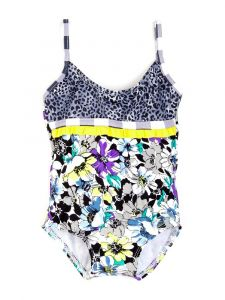 Azul Little Girls Black Yellow Fierce And Floral Ruffle Strap 1 Pc Swimsuit 2T-4