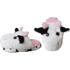 Kreative Kids Unisex Pink Cow Plush Animal Slippers 12 Kids
