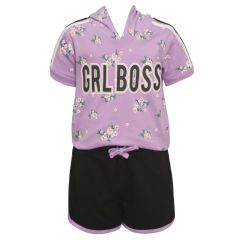 "Little Girls Lavender Floral ""Girl Boss"" Print Hooded 2 Shorts Outfit 4-6X"