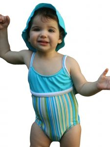 Azul Baby Girls Turquoise Zig Zag Striped 1 Pc Swimsuit 12-24M