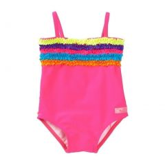 Azul Little Girls Fuchsia Multi Rainbow Ruffle Trim One Piece Swimsuit 2-6
