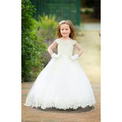 Triumph Dress Girls White Lace Asymmetrical Milena Flower Girl Dress 5-8