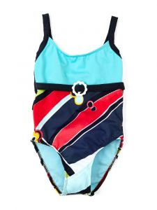 Azul Little Girls Turquoise Rockin Retro Spaghetti Strap 1 Pc Swimsuit 2-3T