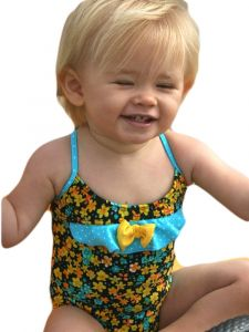Azul Baby Girls Turquoise Prairie Girl Ruffle Bow Strap 1 Pc Swimsuit 12-24M