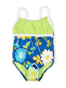 Azul Baby Girls Green Multi Color Nod To Mod Spagetti Strap 1 Pc Swimsuit 12-24M