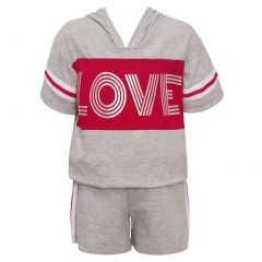"Little Girls Gray Red ""Love"" Print Panel Hooded Top 2 Pc Shorts Outfit 4-6X"