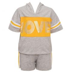 "Big Girls Gray Yellow ""Love"" Print Panel Hooded Top 2 Pc Shorts Outfit 7-16"