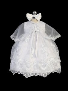 Tip Top Kids Baby Girls White Train Bow Accented Christening Dress NB-24M