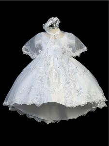 Tip Top Kids Little Girls White Maria Embroidered Train Baptism Dress 2-6