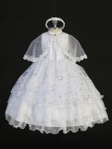 Tip Top Kids Little Girls White Gathered Bodice Rhinestone Baptism Gown 2-6