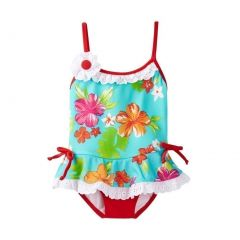 Azul Little Girls Red Turquoise Totes Cute Skirted One Piece Swimsuit 2-6