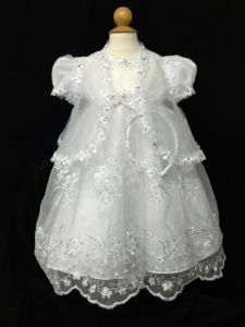Tip Top Kids Little Girls White Short Sleeve Floral Scalloped Baptism Gown 2-4