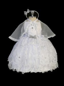 Tip Top Kids Little Girls White Glitter Rhinestone Bow Christening Dress 2-6