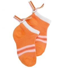 Jefferies Socks Girls Orange Button Back Ribbon Low Cut Socks 6-9.5