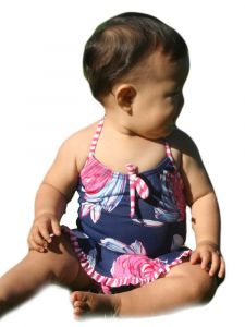 Azul Baby Girls Navy Pink Blue In Bloom Halter Neck Skirted 1 Pc Swimsuit 12-24M