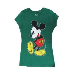 Disney Womens Green Mickey Mouse Graphic Print Short Sleeve T-Shirt S-XL