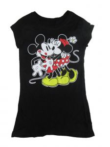 Disney Juniors Black Mickey Minnie Mouse Print Short Sleeve T-Shirt S-L