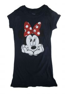 Disney Juniors Navy Minnie Mouse Print Short Sleeve Cotton T-Shirt S-L