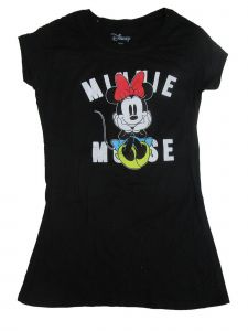 Disney Juniors Black Minnie Mouse Print Short Sleeve Cotton T-Shirt S-L