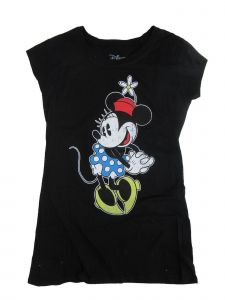 Disney Juniors Black Minnie Mouse Flower Print Short Sleeve T-Shirt S-L