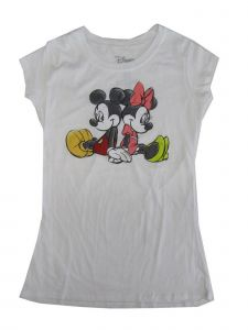 Disney Juniors White Minnie Mouse Print Short Sleeve Cotton T-Shirt S-L