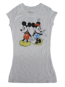 Disney Juniors White Minnie Mouse Print Short Sleeve Trendy T-Shirt S-L