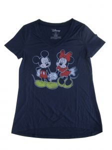 Disney Women's Navy Blue Mickey Minnie Print Short Sleeve Trendy T-Shirt S-L