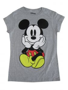 Disney Women's Gray Mickey Print Short Sleeved Trendy Cotton T-Shirt S-L