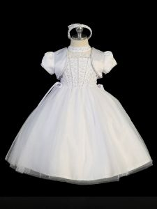 Tip Top Kids Little Girls White Jeweled High Neck Tulle Bolero Baptism Gown 2-6