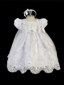 Tip Top Kids Little Girls White 3D Floral Lace Headband Baptism Gown 2-6