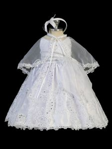 Tip Top Kids Little Girls White Angel Embroidery Cape Baptism Gown 2-6