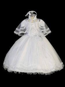Tip Top Kids Little Girls White Flower Glitter Tulle Cape Baptism Gown 2-6
