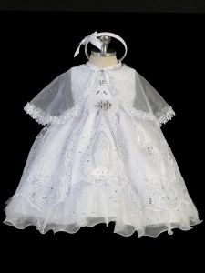 Tip Top Kids Little Girls White Maria Organza Cape Headband Baptism Gown 2-6