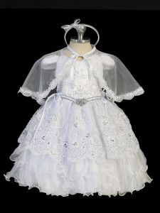 Tip Top Kids Little Girls White Doves Cape Headband Baptism Gown 2-6